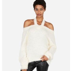 Express fluffy soft cut-out sweater, halter neck